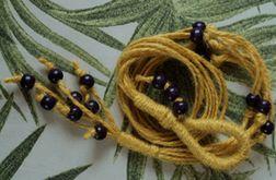 Unikatowy kwietnik makrama juta żółty fioletowe koraliki boho