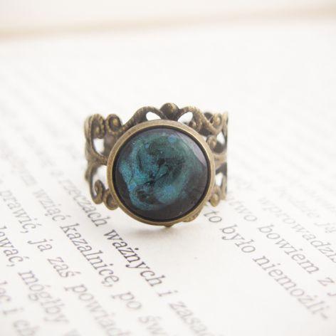 Retro pierścionek, malowane szkło - turkus