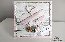 Kartka na ślub kwiaty serce
