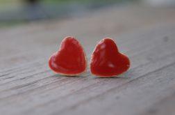 Kolczyki sztyfty duże czerwone serduszka