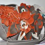 Recznie szyta skórzana kwiatowa torba