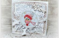 Śnieżna Sówka - kartka świąteczna