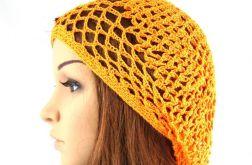 pomarańczowa ażurowa czapeczko-beretka