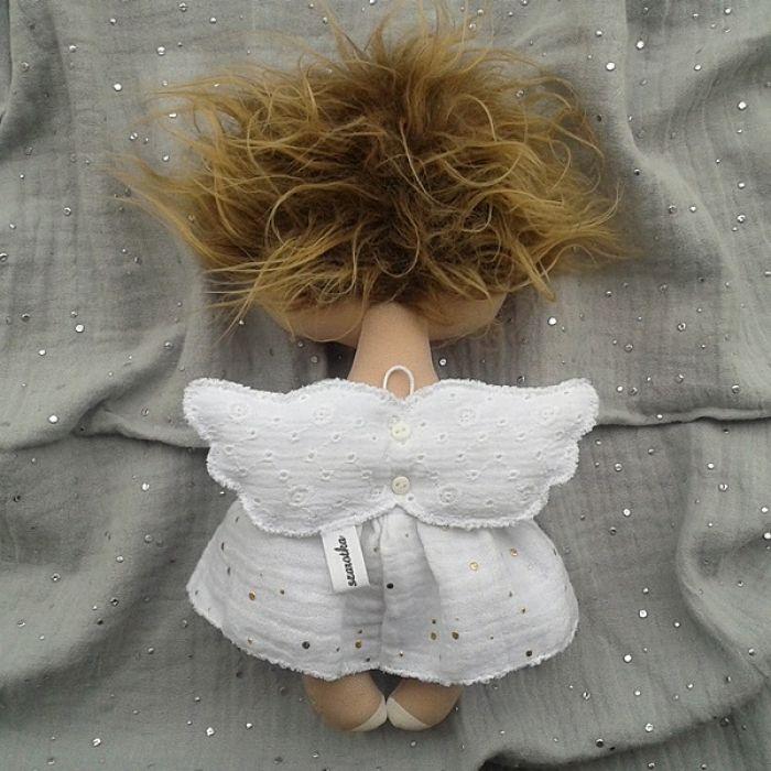 ANIOŁEK lalka - dekoracja tekstylna, OOAK/25 - mam haftowane skrzydełka