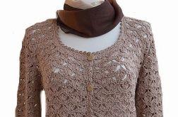 Ciepły ciemny beżowy sweterek rozpinany ;o)