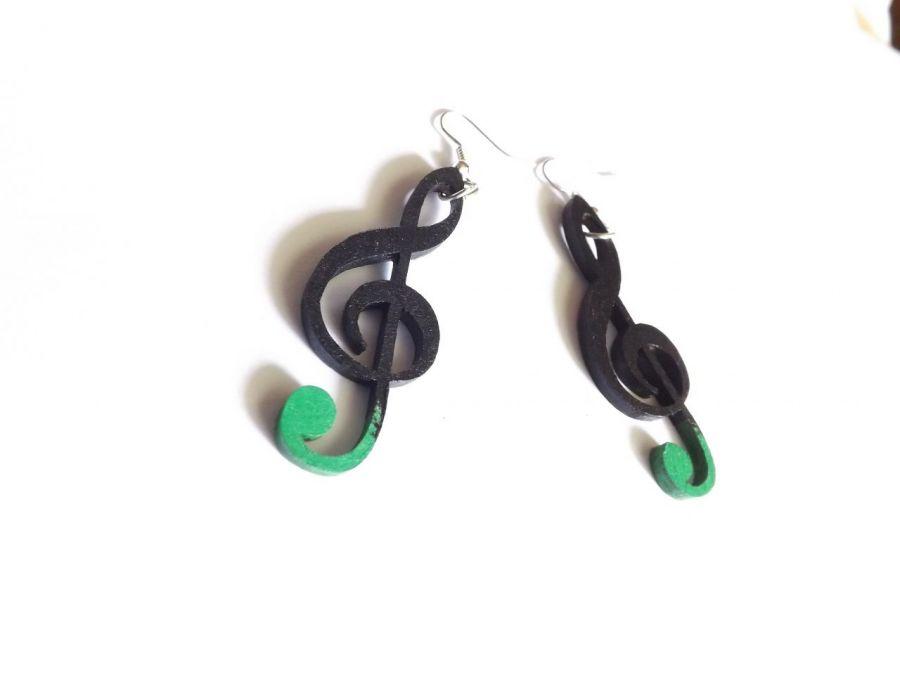 Kolczyki Klucze violinowe, czarno-zielone