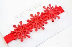 FairyBows opaska czerwone śnieżynki ŚWIĘTA