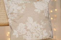 Lniana poszewka na poduszkę w róże