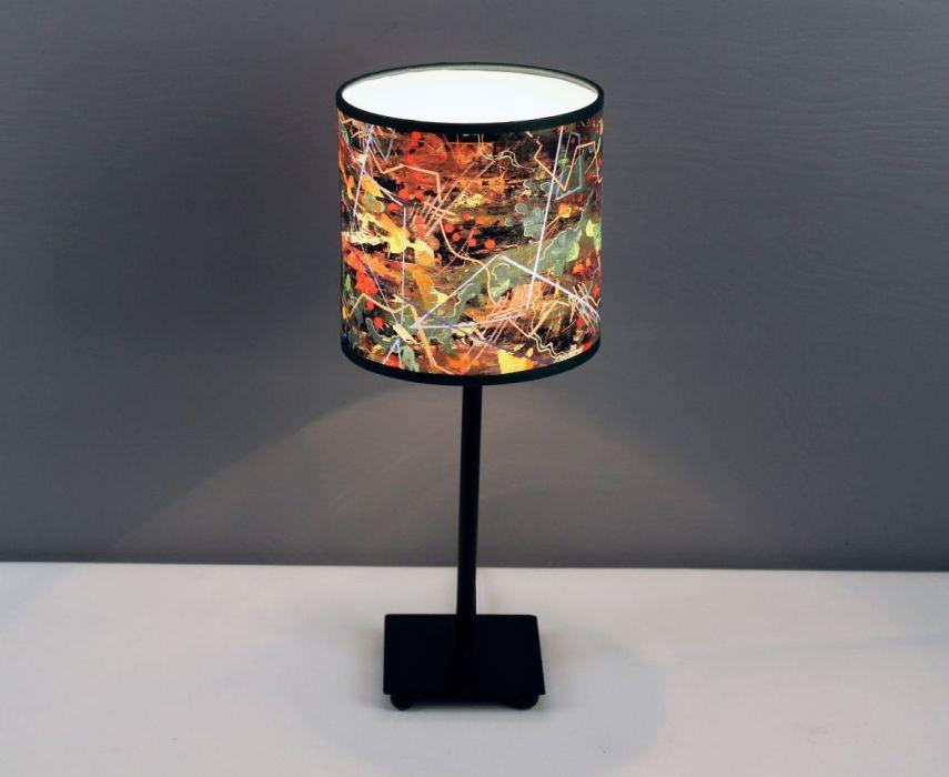 """Lampa nocna stojąca z obrazu """"gEOLOGIKA"""" S - Z grafiką z obrazu gEOLOGIKA."""