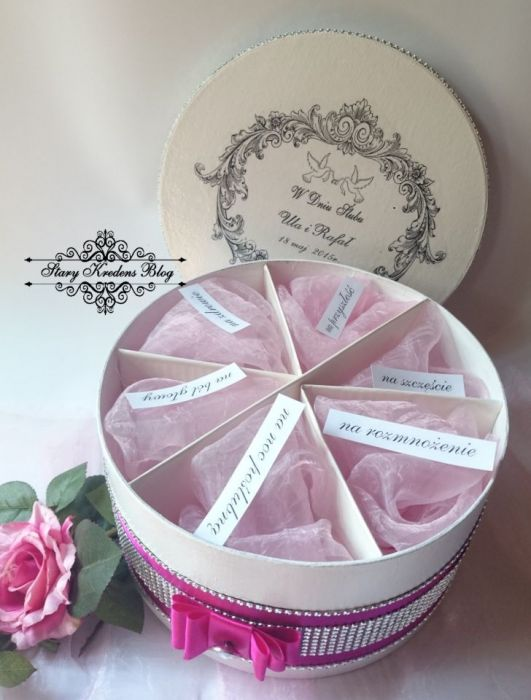 Pudełko ślubne na prezent - Decoupage