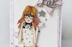 Kartka dla Nastolatki z brokatem