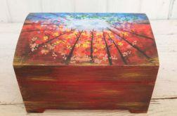 Skrzynka  Drewniana Kuferek Pudełko Ręcznie Malowany Drzewa Jesień