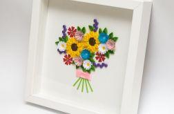 Dekoracja mieszkania bukiet kwiatów quilling
