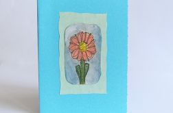 Kartka uniwersalna niebieska z kwiatkiem 3