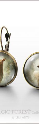 Kolczyki - Sarna - bigle angielskie - antyczny brąz