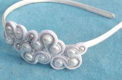 Biało- srebrna  opaska sutasz