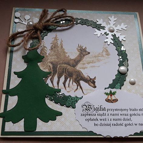 Kartka świąteczna 16 z sarenkami