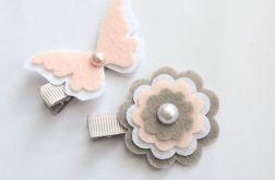 FairyBows SPINECZKI motylek + kwiatek KOMPLET