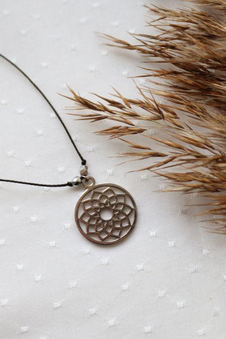 Medalion mandala naszyjnik z wisiorkiem - Wisiorek medalion na sznureczku