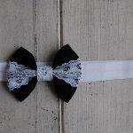 Opaska niemowlęca -Czarna z koronką -