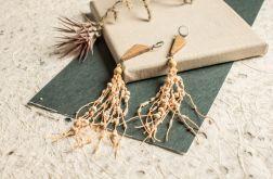 Drewniane kolczyki z brzoskwiniowym lnem