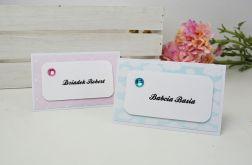 winietki na stół - niebieskie lub różowe