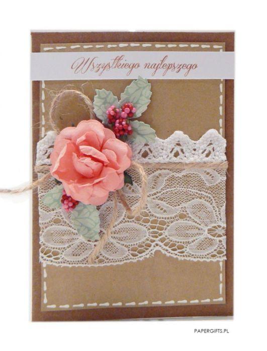 Różowa róża kartka Urodziny lub Imieniny