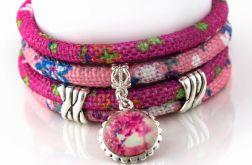 Bransoletka haftowana Pink Spring - duża