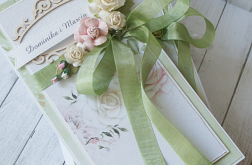 Komplet ślubny w zieleni i delikatnego różu