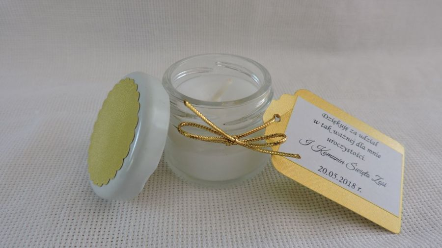Upominek dla gości na komunię - mini świeczka
