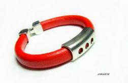 Lady in Red - skórzana bransoleta