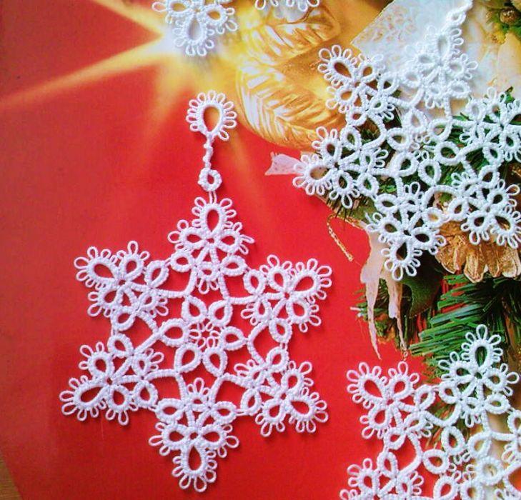 Śnieżynki gwiazdka frywolitka