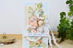 Kwiecista kartka dla Mamy - brzoskwiniowa
