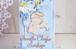 Kartka DL chrzest z aniołkiem błękit GOTOWA