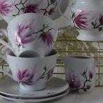 """Filiżanka 250 ml ze spodkiem """"Różowa magnolia"""" - W zestawie"""
