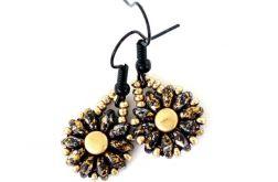 Kolczyki złoto czarne kwiatki