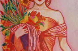 obraz olejny Alfons Mucha kobieta z kwiatami