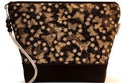 kosmetyczka - złocone motyle - czarna L