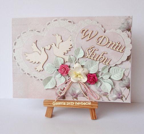 Kartka ślubna z serduszkami różowa 1