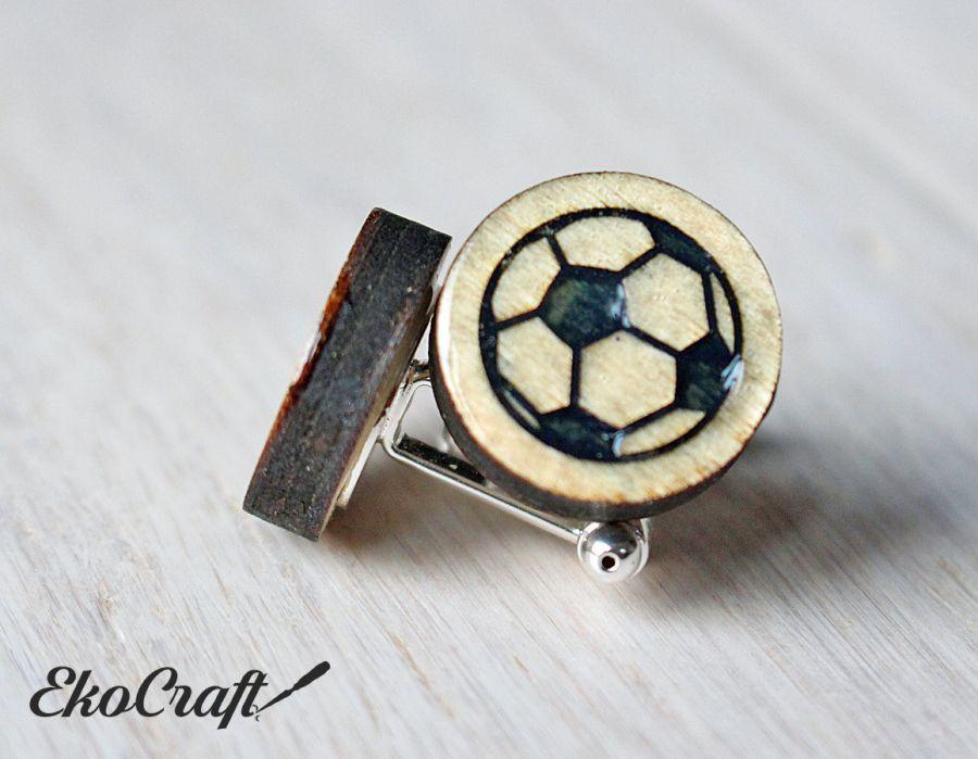 Drewniane spinki do mankietów PIŁKA Color -