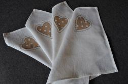 Lniane serwetki z beżowym sercem - 4 sztuk Len
