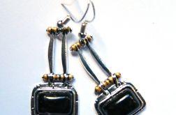 Labradoryt w srebrze, kolczyki vintage