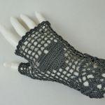 Romantyczne rękawiczki mitenki grafit - rękawiczki ręcznie robione