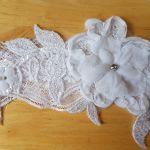 Podwiązka ślubna biel 3D