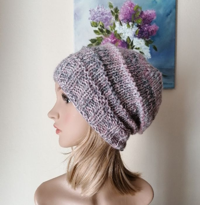 Boho pastele grubaśna czapka