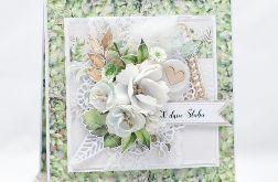Kwiecista kartka ślubna w pudełku KS2110