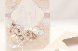 Perłowa kartka ślubna w pudełku KS1908