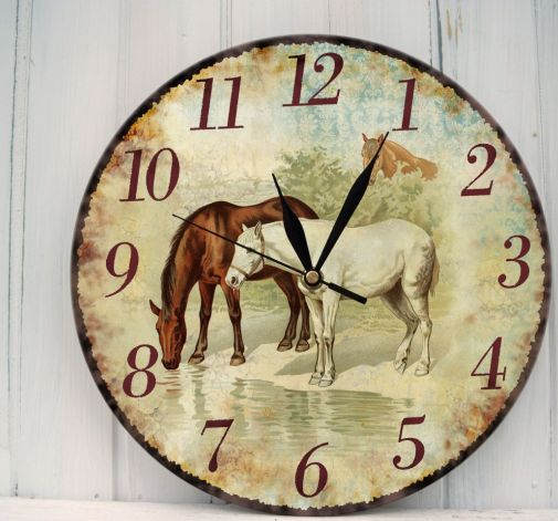 Zegar Ścienny Konie Rustykalny