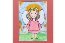 Aniołek obrazek malowany, rysunek z aniołem