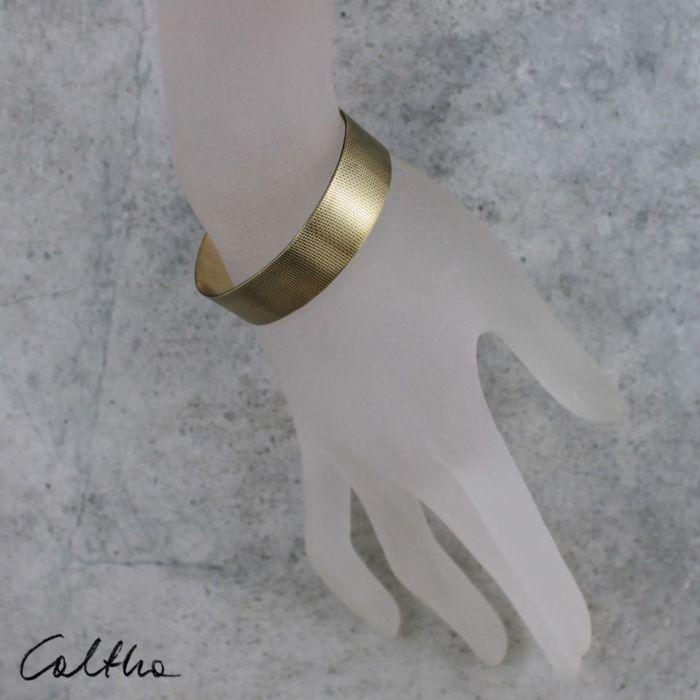 Płótno - mosiężna bransoleta 190419-01 - Regulowana bransoletka